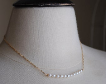 Bar Necklace, Freshwater Pearl Necklace, Gold Necklace, Layering Necklace, Delicate Pearl Necklace, Bridal Necklace, Wedding Necklace