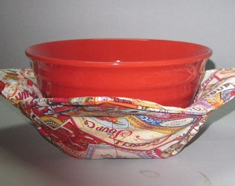 Microwave Bowl Cozy or Potholder Campbell Can Labels Fabric