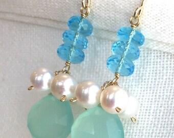 Julianne Earrings, Chalcedony, Blue Quartz, Freshwater Pearl Chandeliers on 14K Gold Fill Ear Wires