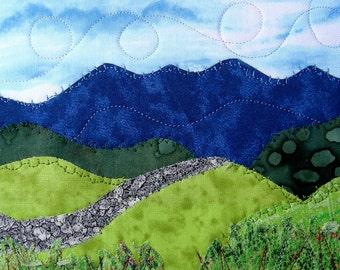 "Fabric Postcard Quilted Postcard Landscape Fiber Art Mountains Greeting Card Wall Decor Nature Blue Ridge Mountains 5"" by 7"""