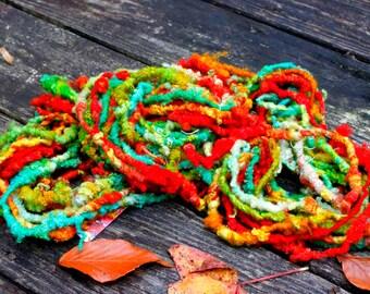 Handspun Art Yarn- Heriloom Tomatoes- Signature Jazztutle TextureSpun Artisan Yarn
