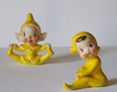 Cute Vintage Ceramic Christmas Pixies - Yellow Outfits