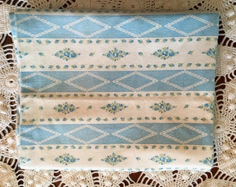 Vintage Pillow Tick - Pillow Cover - Blue and White Diamonds - Flowers - Zipper Pillow Case - Farmhouse Linens