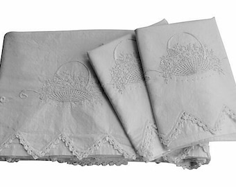 Antique Trousseau Bedding - Flower Basket Sheet & 2 Pillow Cases - White Queen - Trousseau Linens - Full - Queen