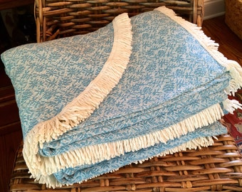 Pair of Cotton Cannon Twin Blankets with Fringe - Small Blue Floral - Twin Bedspreads - Cabin - Country Living