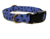 Paw Prince - Blue Black Pawprints Organic Cotton CAT Collar Breakaway Safety - All Antique Brass Hardware