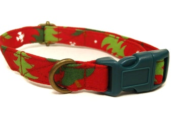 Under the Tree - Red Green Evergreen Christmas Tree Winter Xmas Organic Cotton CAT Collar Breakaway Safety - All Antique Brass Hardware