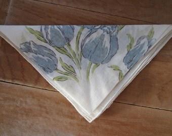 Vintage Cotton Handkerchief - Blue Tulips