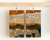 """Sutro Tower, Paper & Wood Earrings, 1.25x2.25"""""""