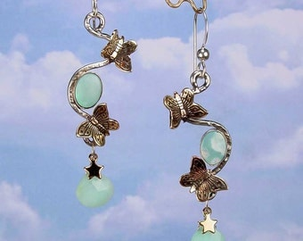SUMMER BUTTERFLY - OOAK One Of A Kind Small Brass Butterfly Sterling Silver Earrings With Opal Cabochons, Peruvian Blue Opal Briolettes