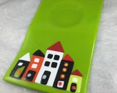 Custom Order Please Do Not Buy Wonky Houses Serving Platter Lime Green Colorful Houses Fused Glass and Serving Bowl