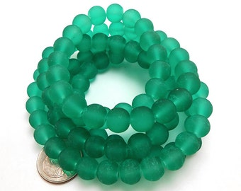 50 Teal Green Matte Sea Glass Beads 8mm frosted beach glass round (H5013)