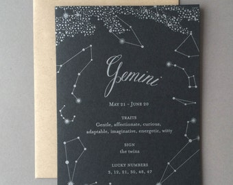 Gemini Birthday Card, letterpress, zodiac