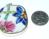 Vintage Ming pottery shard pendant