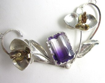 Orchid Bloom Necklace - Sterling Silver and Gold Fill Orchids with Bicolor Amethysts