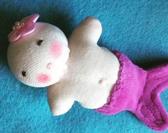 Little pink merbaby, mini mermaid, germandolls, handmade mermaid, Waldorf toy