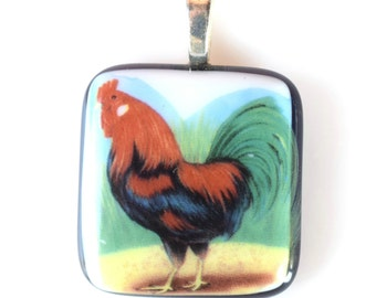 Rooster Pendant Fused Glass