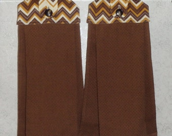 SET of 2 - Hanging Cloth Top Kitchen Hand Towels - Mustard Gold and Brown Chevron Print - Larger BROWN Towels