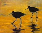 Water Birds, Original 5x7 Oil Painting, Black and Gold, Silhouette, Small Wildlife Animals, Shoreline, Shore Creatures, Fowl, Reflections