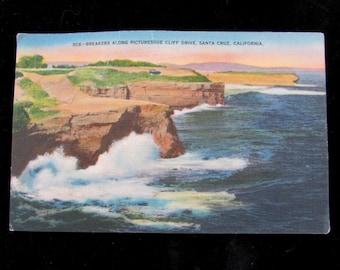 Vintage Souvenir Linen Postcard from Pacific Ocean, Cliff Drive, Santa Cruz, California, 40s, UNUSED, collectible, vintage car