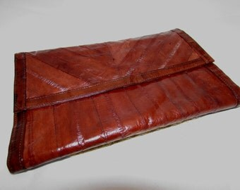 Vintage Dark Chocolate Brown Eelskin Eel skin Leather Clutch Purse, 80s, accessory, made in Korea