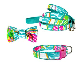 2016 YOU GOTTA REGATTA Dog Collar and/or Leash on Teal with Bow or Flower Option Made from Lilly Pulitzer Fabric Size: Your Choice