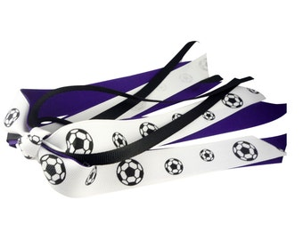 Purple & Black Soccer hair bow for girls-ponytail ribbon bow - any sports