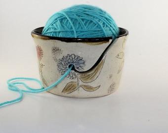 Hand Drawn Flowers Yarn Bowl