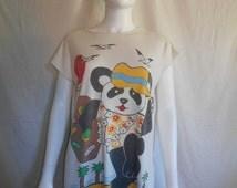 PANDA long t shirt night gown kitsch kawaii cute  t shirt, Vintage 80's long  T-shirt tee   pajama shirt