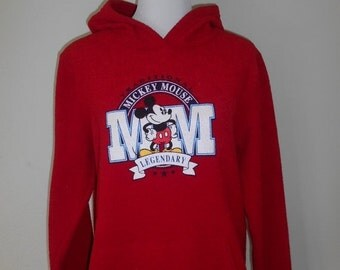 SALE Vintage  MICKEY MOUSE Red  fuzzy sweatshirt hoody hooded