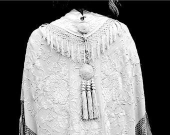 Original with Tassels and Appliqué 1920's or Earlier Possibly Victorian Canton Chinese piano shawl fabric Wedding Shawl GORGEOUS