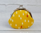 Clasp Change Coin Purse Raindrop Yellow Earbud Holder Kisslock Purse Rosary Case Jewelry Case Metal Frame Purse