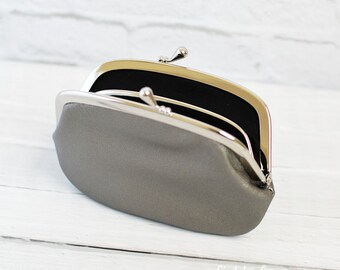 Women's Leather Wallet with Divider Silver Gray 2 Compartment Purse 2 Section Purse Simple Purse Change Purse