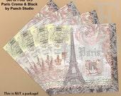 PN001 Set of 4 Paper Napkins Punch Studio ~ 5x5 or 4.5x8 Art Nouveau Eiffel Tower, fleur-dis-les, French script, postal elements