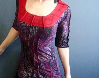 Mesmerizing - iheartfink Handmade Hand Printed Womens Mixed Prints Scoop Neck Purple Red Jersey Top