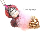 Pretty in Pink Doll Head Necklace Frozen Charlotte Art Doll Flowes & Heart Pendant Lorelie Kay Original
