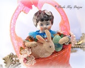 Spun Cotton Art Doll Easter Basket Decoration Bunny Ornament Vintage Inspired Decoration China Head Doll