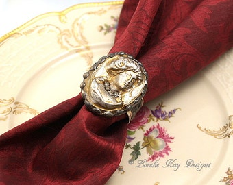 Napkin Ring Art Nouveau Inspired Cameo Woman Gothic Soldered Cast Clay Napkin Ring