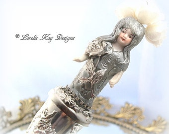 Silver Rose Art Doll Bud Vase Doll Assemblage Art Doll One-of-a-kind Mixed Media Sculpture Lorelie Kay Original