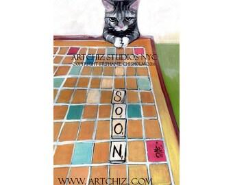 Cat Illustration - Soon- Tabby Cat Art - Scrabble Board. Funny Cat Picture.