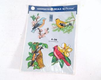 Vintage bird decals, decorcal decals, NIP, NOS, unopened unused decals