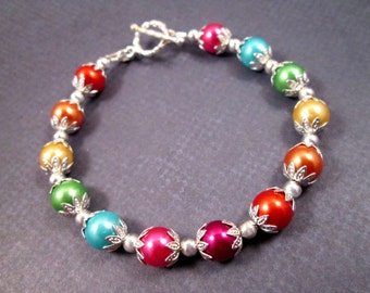 Rainbow Pearl Bracelet, Colorful and Silver Beaded Bracelet, FREE Shipping U.S.