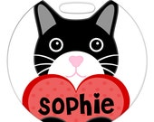 Luggage Tag - Black Cat with Custom Name Heart - Round Plastic Bag ID Tag