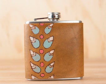 Leather Flask - Handmade Hip Flask in the Petal Pattern with modern flowers - 6oz Size - Bridesmaid Flask - Wedding Flask