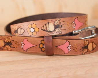 Leather Belt - Handmade Womens Skinny Belt with Bees and Flowers - Meadow pattern with honeycomb in gold, pink, mahogany