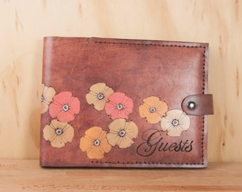 Guest Book -  Wedding guest book - Leather with Poppy Flowers - Garden Wedding - Pink, orange, yellow and antique mahogany