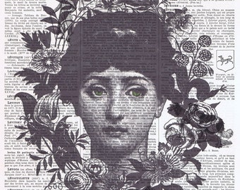 Fornasetti.Book page.collage.Gift.Vintage.Print.Home Deco.birthday.art.french.mixed media art.antique.classic.steam punk.bath.eco.flower