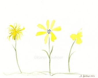"Watercolor flowers, original watercolor painting: ""Yellow Posies"""
