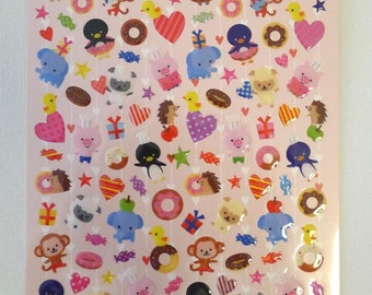 Cute Japanese Crystal Stickers  - Animal Fun - Party Animals (1330L)