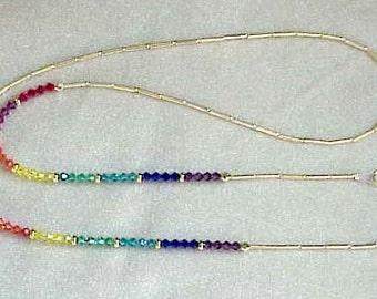Handmade using Swarovski Rainbow Element Crystals in Eyeglass Chain